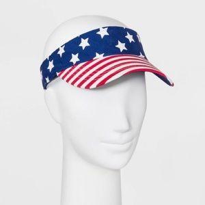Women's Americana Visor Flag Velcro Back Hat NWT